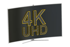 Curved 4K UltraHD TV, 3D rendering. On white background Royalty Free Stock Photo