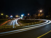 Curved Light Trails at Night Time Stock Images