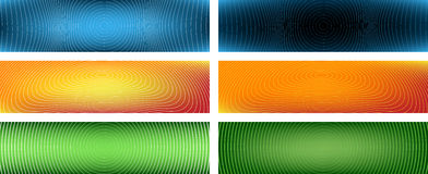 Curved Lines Banners I. Six Vector Banners Based on Lines (editable stroke widths, cropping can be slightly changed - lines extend beyond clipping mask Royalty Free Stock Photo