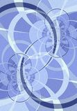 Curved Lines and Circles Blue. A series of abstract lines, curves and swirls in a blue texture background pattern design Stock Illustration