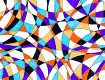 Curved lines with gel pen colored intersections. A background of curved lines filled by colored gel pens Stock Photo