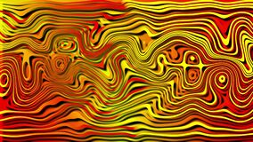 Curved lines of red and yellow shades change shape at random and cast shadows