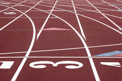 Curved lines on stadium track Royalty Free Stock Photography