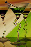 Curved martini glasses Stock Photos