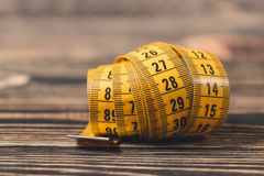 Curved measuring tape. Royalty Free Stock Photography