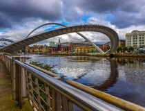 Curved millennium bridge. royalty free stock photography