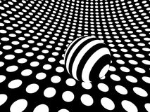Curved monochrome polka dot surface with sphere Stock Photo