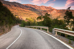 Curved  mountain highway Royalty Free Stock Photo
