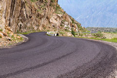 Altai: curved mountain road Royalty Free Stock Image