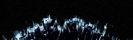 Curved Night City Skyline Stock Images