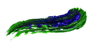 Curved oil paint brush strokes isolated. Abstract blue and green acrylic watercolors hand paint isolated on white background. Detail or closeup brush stroke Royalty Free Stock Photo