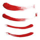 Curved oil paint brush strokes isolated Stock Image
