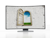 Curved OLED television Stock Image