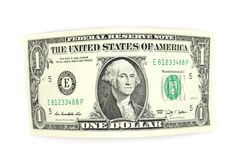 Curved one dollar bill Stock Photos