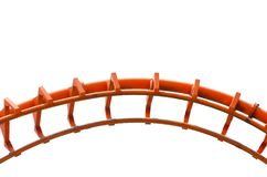 Curved of orange Roller Coaster track in close up isolated on white background. A beautiful Curved of orange Roller Coaster track in close up isolated on white vector illustration