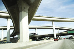 Curved Overpass America Interstate Freeway System. Details of a curved Overpass on America Interstate Freeway System Royalty Free Stock Photo