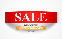 Curved paper Sale discount banner. Illustration of Curved paper Sale discount banner Royalty Free Stock Images