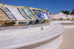 Park benches with mosaic tiles from Park Guell in Barcelona, Spain royalty free stock photos