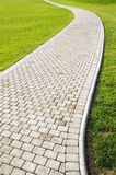 Curved path. And green grass background Stock Photo