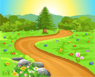 Curved path in natural landscape royalty free illustration