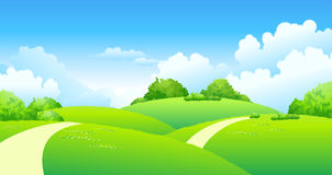 Curved path over green landscape Stock Photo