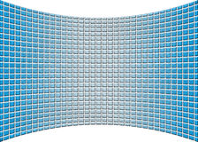Curved Perspective Blue Glass Wall. Unique curved perspective wall that seems to be made of blue glass blocks Royalty Free Stock Images