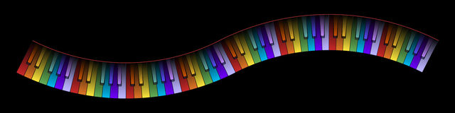 Curved Piano Keyboard Colors. Curved Piano Keyboard With Colored Keys Illustration Stock Image