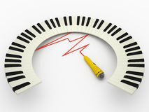 Curved piano keyboard an microphone, 3D Stock Image
