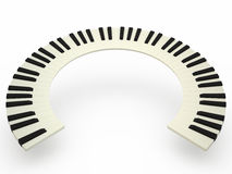 Curved piano keyboard. On white background, 3D Royalty Free Stock Photos