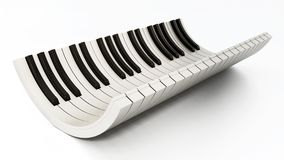 Curved piano keys isolated on white background. 3D illustration.  Stock Image
