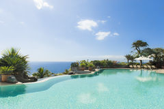 Curved Pool. In Tenerife, Spain stock photo