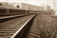 Curved railroad Royalty Free Stock Images