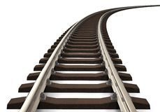 Curved railroad track Stock Images