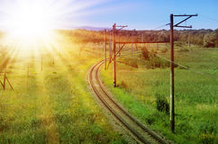 Curved Railroad Track Royalty Free Stock Photography