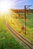 Curved Railroad Track Stock Photo