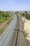 Curved railway running far away Royalty Free Stock Photos