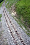 Curved railway tracks Royalty Free Stock Photos