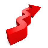 Curved red arrow on white background Stock Image