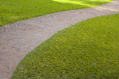 Curved red brick walkway with green grass Royalty Free Stock Photography