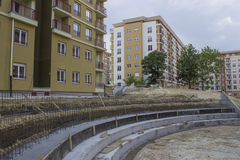 Curved Retaining Concrete Wall 3 Royalty Free Stock Photo