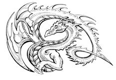 Winged dragon wyvern. A curved ring serpent-like cute winged dragon Stock Photo