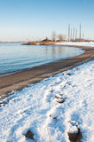 Curved river bank in winter Royalty Free Stock Image