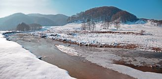Curved river on snowy valley Stock Images