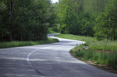 Curved road. Double bend road across hill Royalty Free Stock Photos