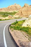 Curved Road in Badlands Royalty Free Stock Photo