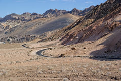 Curved road in Death Valley desert Royalty Free Stock Photography