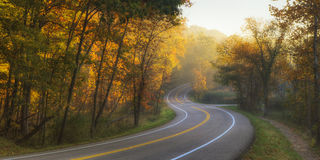 Curved Road. An early fall view down a curvy and winding road Royalty Free Stock Images