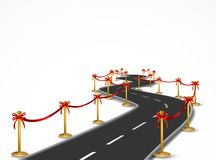 Curved road with gold balustrade and red bow Royalty Free Stock Photography