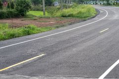 Curved road surface, which is new paved. Stock Photography