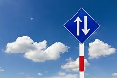 Curved Road Traffic Sign Stock Photography